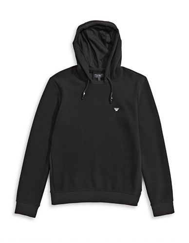 Armani Jeans Perforated-Knit Hoodie-BLACK-Small 88457862_BLACK_Small