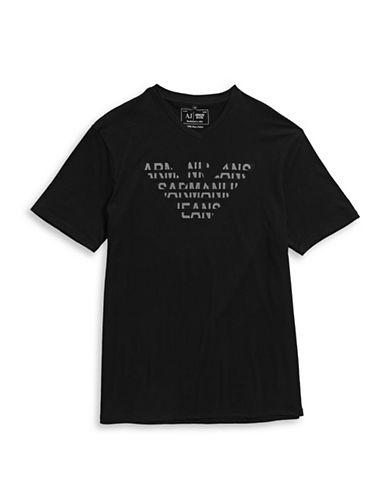 Armani Jeans Logo Eagle V-Neck T-Shirt-BLACK-Large 88458038_BLACK_Large