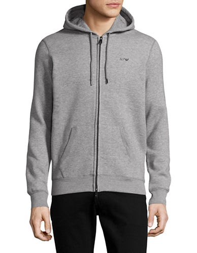 Armani Jeans Long Sleeve Brushed Cotton Fleece Hoodie-GREY-X-Large 88884543_GREY_X-Large