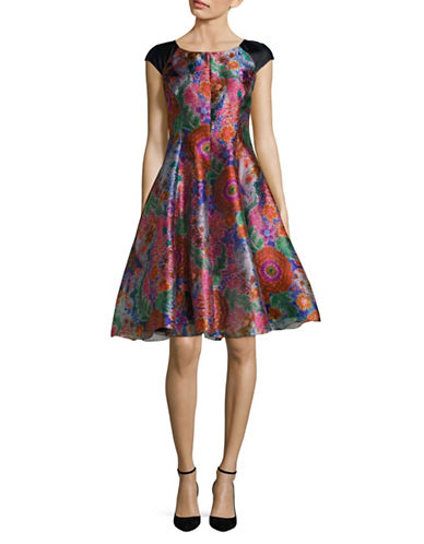 Armani Collezioni Multi Floral Jacquard Cap Sleeve Dress-PINK/MULTI-EUR 42/US 6