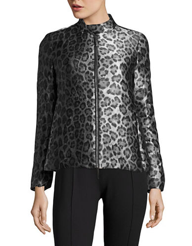 Armani Collezioni Quilted Duck Down and Feather Leopard Print Jacket-MULTI-EUR 40/US 4