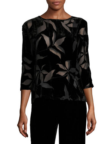 Armani Collezioni Velvet Floral Top-BLACK-13X72 INCHES