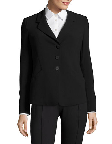 Armani Collezioni Three-Button Stretch-Wool Blazer-NAVY-EUR 38/US 2