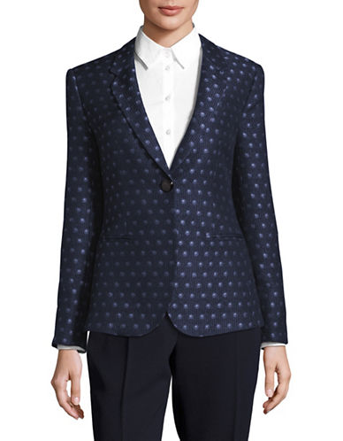 Armani Collezioni Circle Patterned Silk-Wool Jacket-BLUE-EUR 40/US 4