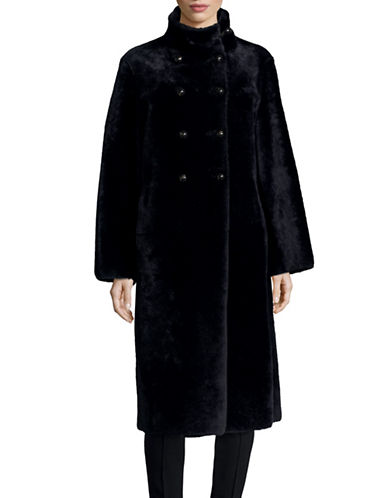 Armani Collezioni Shearling Double-Breasted Coat-NAVY-EUR 48/US 12