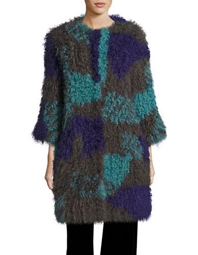 Armani Collezioni Multicolour Lamb Fur Coat-GREEN/PURPLE-EUR 48/US 12