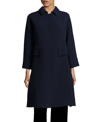 Armani Collezioni Elephant Crepe Wool-Blend Coat-NAVY-EUR 40/US 4