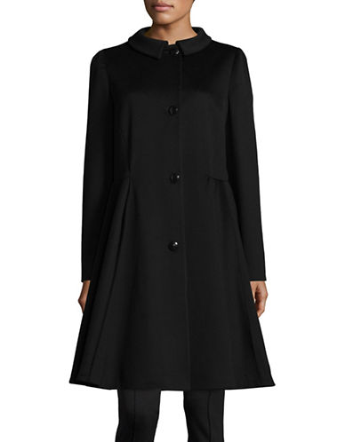 Armani Collezioni Virgin Wool Flared Skirt Coat-BLACK-EUR 44/US 8
