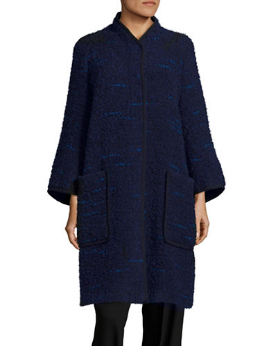 Armani Collezioni Boucle Cocoon Coat-NAVY/MULTI-EUR 40/US 4