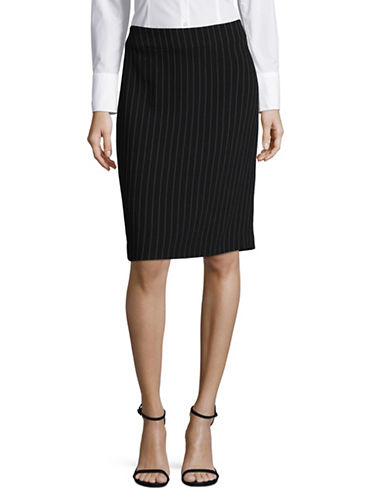 Armani Collezioni Pinstriped Virgin Wool-Blend Pencil Skirt-BLACK-EUR 42/US 6