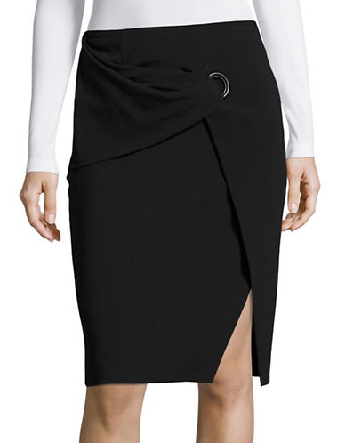 Armani Collezioni Buckle Front Wool Skirt-NAVY-EUR 48/US 12