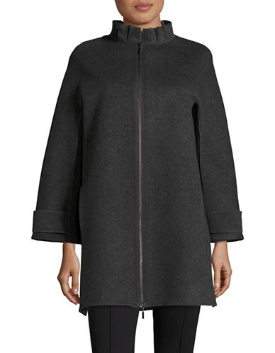 Armani Collezioni Pleated Collar Wool-Cashmere Coat-GREY-EUR 50/US 14