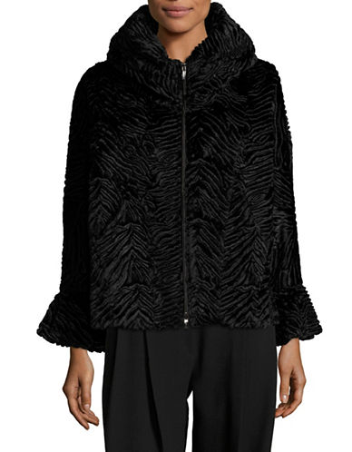 Armani Collezioni Whimsical Velvet Caban Jacket-BLACK-EUR 40/US 4