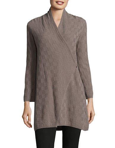 Armani Collezioni Basketweave Cashmere Cardigan-BROWN-13X72 INCHES