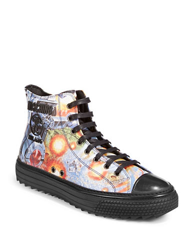 Moschino Transformers Leather High-Top Sneakers-BLUE-EU 40/US 7