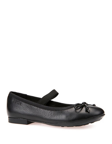 Geox Respira Leather Ballet Flats-BLACK-1
