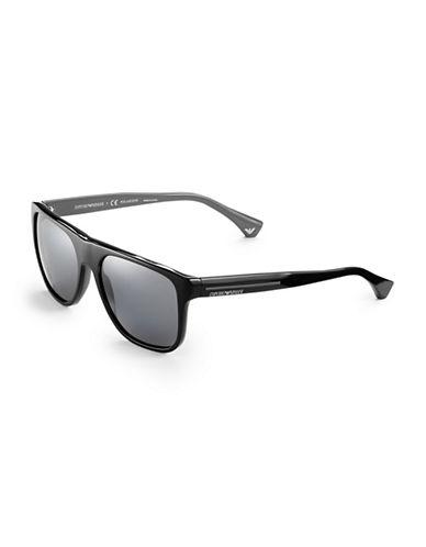 Emporio Armani Contrast Square Sunglasses-BLACK/GRAY-One Size