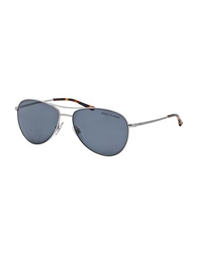 Polo Ralph Lauren Tortoiseshell 0PH3084 58mm Aviator Sunglasses-POLAR SILVER-One Size