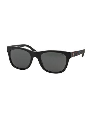 Polo Ralph Lauren Check 0PH4091 55mm Wayfarer Sunglasses-BLACK-One Size