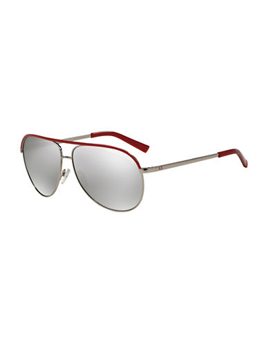 Armani Exchange 0AX2002 61MM Aviator Sunglasses-SILVER-One Size