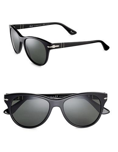 Persol 54mm Polarized Classics Round Sunglasses-BLACK-One Size