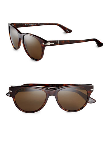 Persol 54mm Polarized Classics Round Sunglasses-HAVANA-One Size