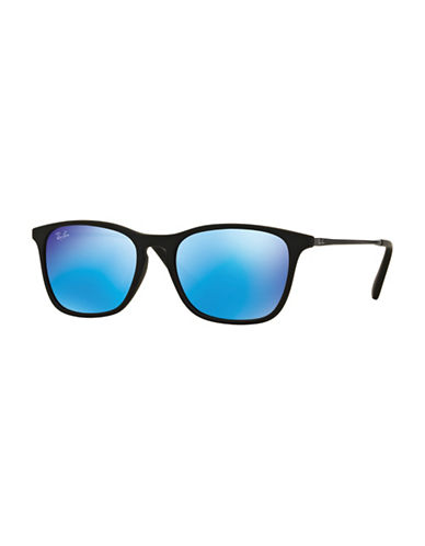 Ray-Ban Junior Chris  45mm Rectangular Sunglasses-BLACK/BLUE-One Size