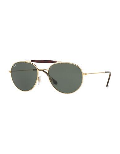 Ray-Ban 53mm Round Aviator Sunglasses-GOLD-56 mm