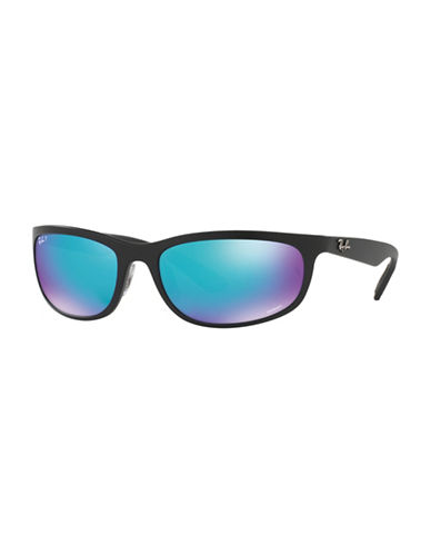 Ray-Ban Chromance 62mm Flat Wrap Sunglasses-BLUE-One Size
