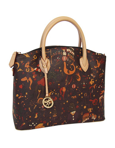 Piero Guidi Magic Circus Print Zip Satchel Bag-BROWN-One Size