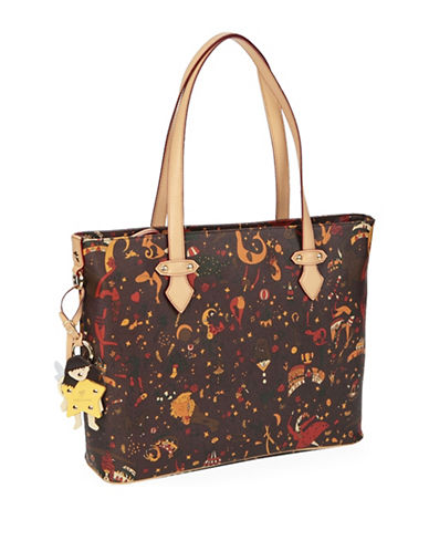 Piero Guidi Magic Circus Leather Tote Bag-BROWN-One Size