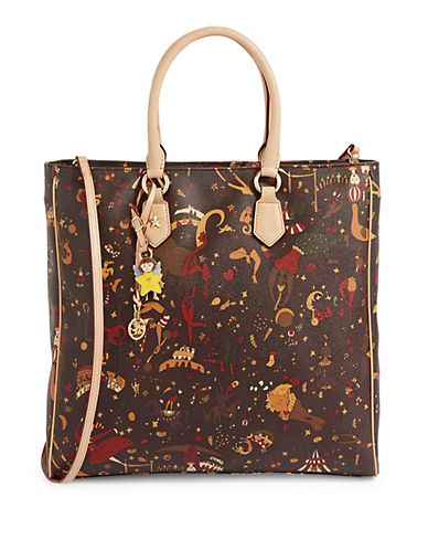 Piero Guidi Magic Circus Print Zip Top Shopper Bag-BROWN-One Size