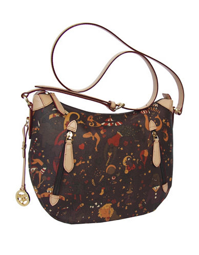 Piero Guidi Magic Circus Print Double Zip Crossbody Bag-BROWN-One Size
