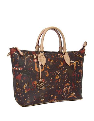 Piero Guidi Magic Circus Print Zip Top Satchel Bag-BROWN-One Size