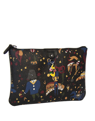 Piero Guidi Magic Circus Print Zip Top Clutch Bag-BLACK-One Size
