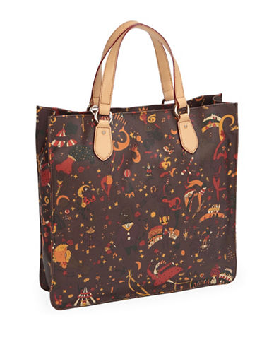 Piero Guidi Magic Circus Print Open Top Shopper Bag-BROWN-One Size
