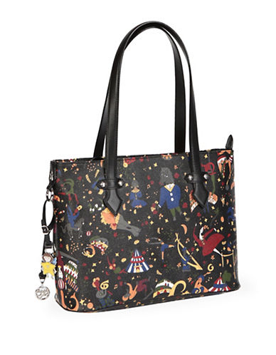Piero Guidi Magic Circus Print Zip Top Shoulder Bag-BLACK-One Size