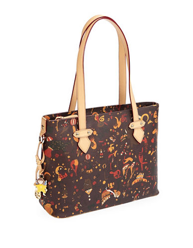 Piero Guidi Magic Circus Print Zip Top Shoulder Bag-BROWN-One Size