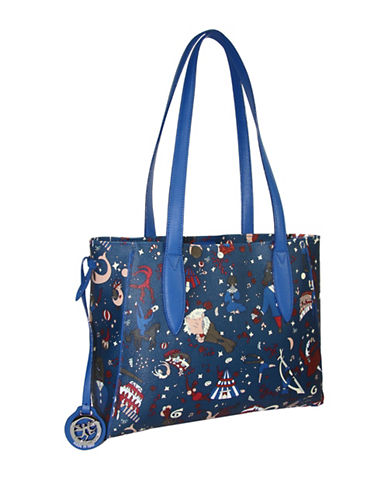 Piero Guidi Magic Circus Coated Canvas Tote-BLUE-One Size