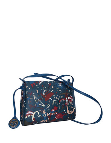 Piero Guidi Magic Circus Coated Canvas Shoulder Bag-BLUE-One Size