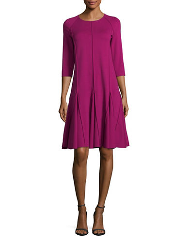 Armani Collezioni Three-Quarter Sleeve Fit-and-Flare Dress-PURPLE-EUR 44/US 8