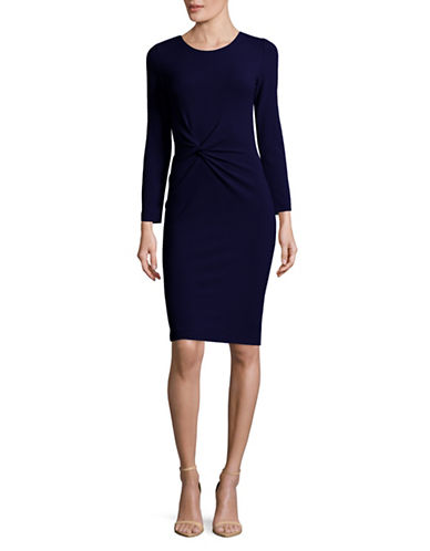Armani Collezioni Double-Knit Twist Sheath Dress-BLUE-EUR 46/US 10