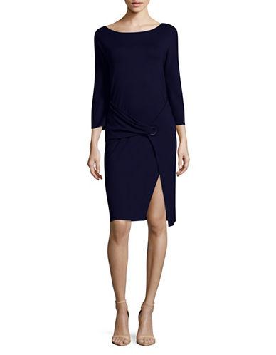 Armani Collezioni Long Sleeve Overlap Sheath Dress-BLUE-EUR 42/US 6