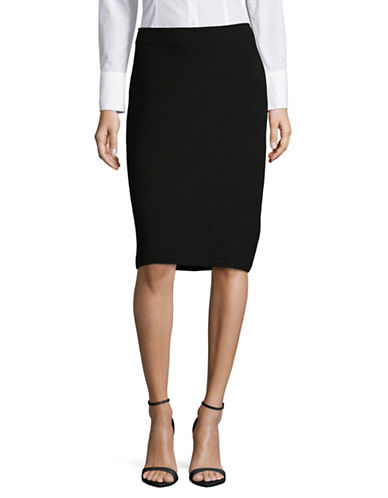Armani Collezioni Milano Ribbed Pencil Skirt-BLACK-EUR 40/US 4