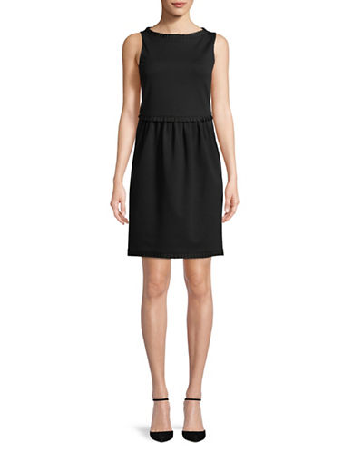 Emporio Armani Milano Stritch Boat Neck Dress-BLACK-EUR 40/US 4