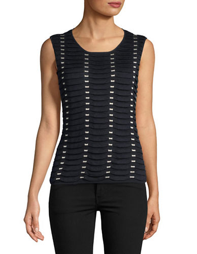 Emporio Armani Tubular Sleeveless Top-NAVY/WHITE-EUR 40/US 4