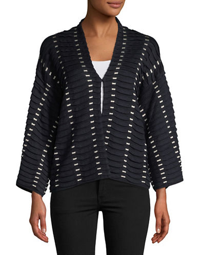 Emporio Armani Tubular Long-Sleeve Cardigan-NAVY/WHITE-EUR 38/US 2