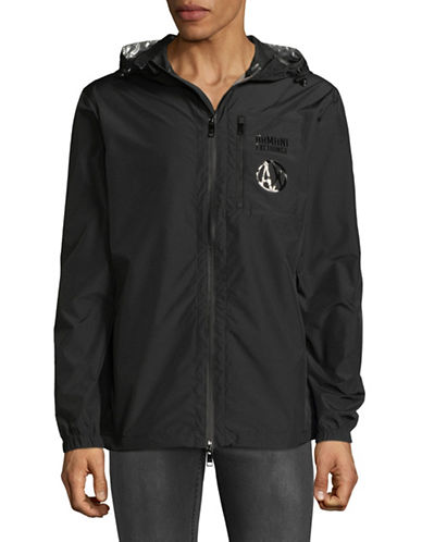 Armani Exchange Logo Zip-Up Coat-BLACK-Small