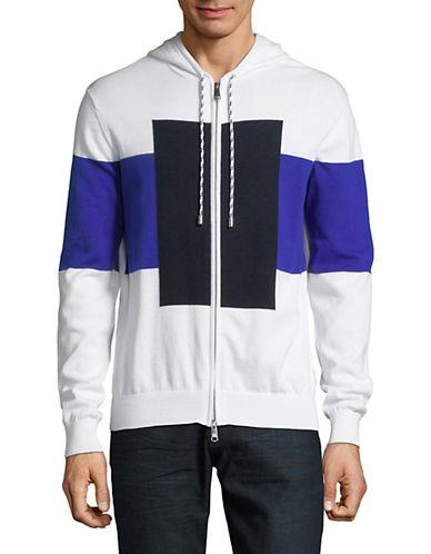 Armani Exchange Colourblocked Cotton Hoodie-WHITE-X-Large 89839147_WHITE_X-Large