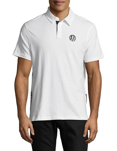 Armani Exchange Textured Bottom Short-Sleeve Polo-WHITE-X-Large